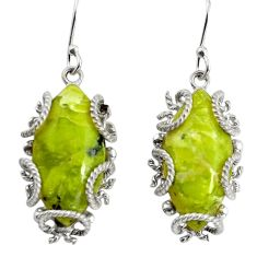 20.85cts natural yellow lizardite (meditation stone) 925 silver earrings d32543