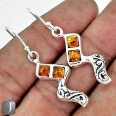 5.51cts ORANGE AUTHENTIC BALTIC AMBER 925 STERLING SILVER DANGLE EARRINGS G73493