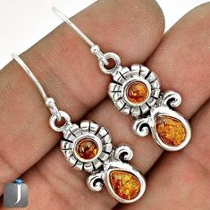 6.02cts ORANGE AUTHENTIC BALTIC AMBER 925 STERLING SILVER DANGLE EARRINGS G73495