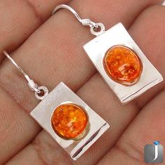 6.67cts ORANGE AUTHENTIC BALTIC AMBER 925 STERLING SILVER DANGLE EARRINGS G73498