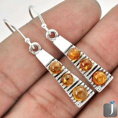 6.68cts ORANGE AUTHENTIC BALTIC AMBER 925 STERLING SILVER DANGLE EARRINGS G73500