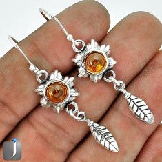 ORANGE AUTHENTIC BALTIC AMBER 925 STERLING SILVER DANGLE EARRINGS JEWELRY G37709