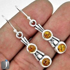 ORANGE AUTHENTIC BALTIC AMBER 925 STERLING SILVER DANGLE EARRINGS JEWELRY G73483