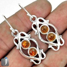 ORANGE AUTHENTIC BALTIC AMBER 925 STERLING SILVER DANGLE EARRINGS JEWELRY G73492