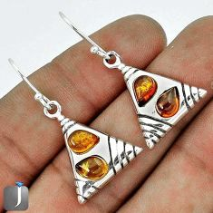 ORANGE AUTHENTIC BALTIC AMBER 925 STERLING SILVER DANGLE EARRINGS JEWELRY G73494