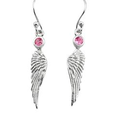 0.59cts pink kunzite (lab) 925 silver dangle feather charm earrings p82411