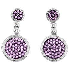 3.03cts pink kunzite (lab) topaz 925 sterling silver dangle earrings c2709