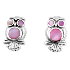 4.26gms pink pearl enamel 925 sterling silver owl earrings jewelry c2549