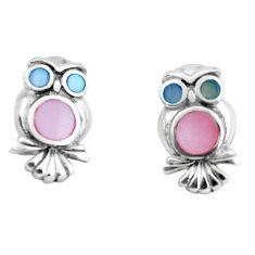 4.02gms pink pearl enamel 925 sterling silver owl earrings jewelry c2550