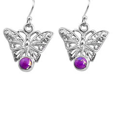 1.79cts purple copper turquoise 925 sterling silver butterfly earrings p84894