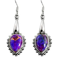 Clearance Sale- 10.37cts purple copper turquoise 925 sterling silver dangle earrings d32425