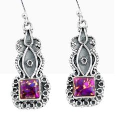 4.43cts purple copper turquoise 925 sterling silver dangle earrings d32465