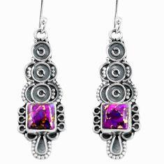 4.80cts purple copper turquoise 925 sterling silver dangle earrings d32469