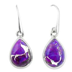 10.33cts purple copper turquoise 925 sterling silver dangle earrings p50919
