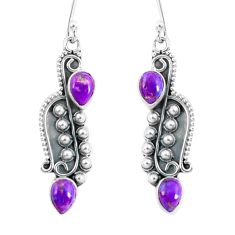 4.23cts purple copper turquoise 925 sterling silver dangle earrings p59975