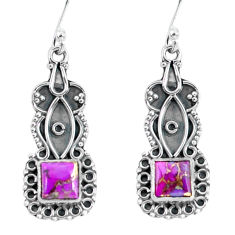 4.34cts purple copper turquoise 925 sterling silver dangle earrings p59992