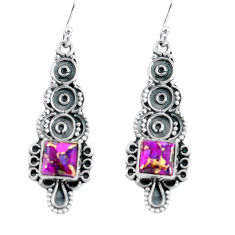 4.84cts purple copper turquoise 925 sterling silver dangle earrings p60015