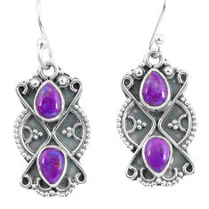3.18cts purple copper turquoise 925 sterling silver dangle earrings p60037