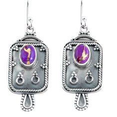 3.19cts purple copper turquoise 925 sterling silver dangle earrings p60075