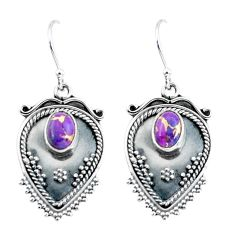 3.36cts purple copper turquoise 925 sterling silver dangle earrings p60094