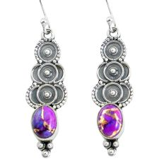 3.91cts purple copper turquoise 925 sterling silver dangle earrings p60115