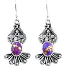 4.28cts purple copper turquoise 925 sterling silver dangle earrings p60158