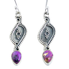 3.23cts purple copper turquoise 925 sterling silver dangle earrings p60196