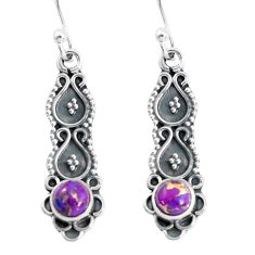 1.21cts purple copper turquoise 925 sterling silver dangle earrings p60218