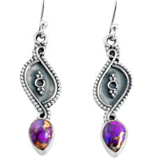 3.18cts purple copper turquoise 925 sterling silver dangle earrings p60239