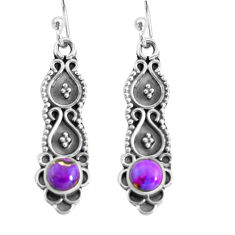 1.16cts purple copper turquoise 925 sterling silver dangle earrings p64911