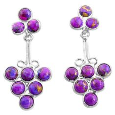 13.15cts purple copper turquoise 925 sterling silver dangle earrings p77473