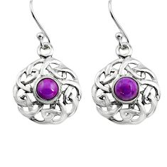 1.84cts purple copper turquoise 925 sterling silver dangle earrings p84993