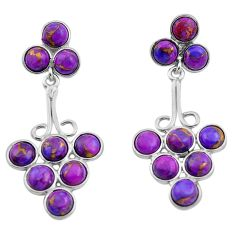 13.10cts purple copper turquoise 925 sterling silver dangle earrings p88371