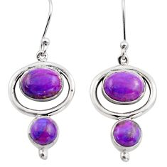 8.03cts purple copper turquoise 925 sterling silver dangle earrings p88468