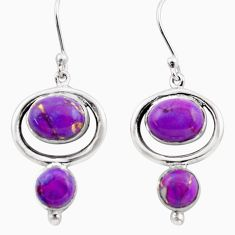 8.75cts purple copper turquoise 925 sterling silver dangle earrings p88470