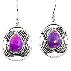 5.74cts purple copper turquoise 925 sterling silver dangle earrings p88480