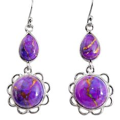 16.86cts purple copper turquoise 925 sterling silver dangle earrings p91573