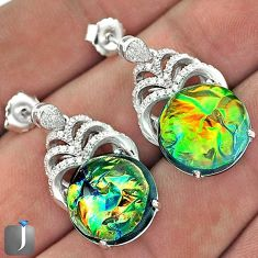 RARE MULTICOLOR DICHROIC GLASS TOPAZ 925 SILVER DANGLE EARRINGS JEWELRY G42155