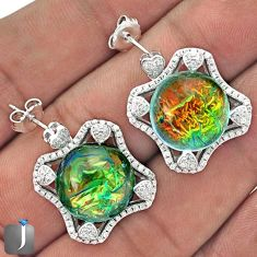 RARE MULTICOLOR DICHROIC GLASS TOPAZ 925 SILVER DANGLE EARRINGS JEWELRY G42156