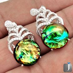 RARE MULTICOLOR DICHROIC GLASS TOPAZ 925 SILVER DANGLE EARRINGS JEWELRY G77911
