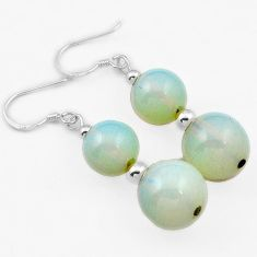 RARE NATURAL WHITE OPALITE ROUND SHAPE 925 SILVER DANGLE EARRINGS JEWELRY H40228