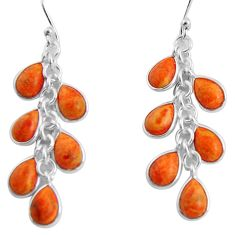 14.18cts red copper turquoise 925 sterling silver chandelier earrings p90033