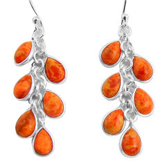 14.18cts red copper turquoise 925 sterling silver chandelier earrings p90034