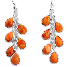 14.56cts red copper turquoise 925 sterling silver chandelier earrings p90035