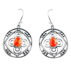 3.41cts red copper turquoise 925 sterling silver dangle earrings jewelry p64831