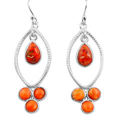 8.69cts red copper turquoise 925 sterling silver dangle earrings jewelry p77455
