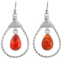 8.66cts red copper turquoise 925 sterling silver dangle earrings jewelry p89974