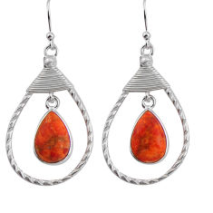 8.06cts red copper turquoise 925 sterling silver dangle earrings jewelry p89976