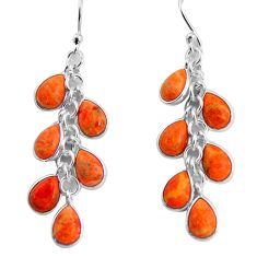 12.54cts red copper turquoise 925 sterling silver dangle earrings jewelry p91526