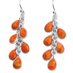 12.54cts red copper turquoise 925 sterling silver dangle earrings jewelry p91527
